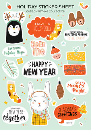 Cute Happy New Year winter elements. Isolated on white background. Motivational typography of hygge quotes. Scandinavian style illustration good for stickers, labels, tags, cards, posters. Vector Stock fotó - 126726898