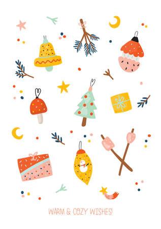 Nette Frohes neues Jahr Winterelemente. Isoliert auf weißem Hintergrund. Motivierende Typografie von Hygge-Zitaten. Illustration im skandinavischen Stil, gut für Aufkleber, Etiketten, Tags, Karten, Poster. Vektor Vektorgrafik