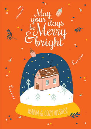 Cute Happy New Year winter elements. Isolated on white background. Motivational typography of hygge quotes. Scandinavian style illustration good for stickers, labels, tags, cards, posters. Vector Illustration