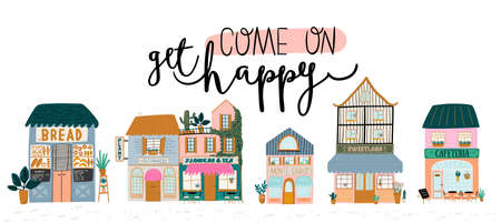 Collection of cute house, shop, store, cafe and restaurant isolated on white background. Flat vector illustration in trendy scandinavian style. European city Stockfoto - 127045083