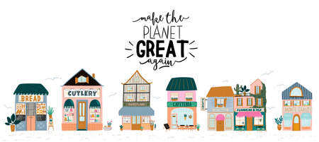 Collection of cute house, shop, store, cafe and restaurant isolated on white background. Flat vector illustration in trendy scandinavian style. European city  イラスト・ベクター素材