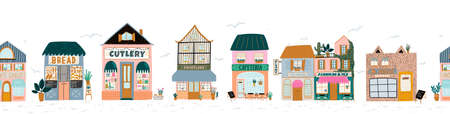 Collection of cute house, shop, store, cafe and restaurant isolated on white background. Flat vector illustration in trendy scandinavian style. European city Ilustração