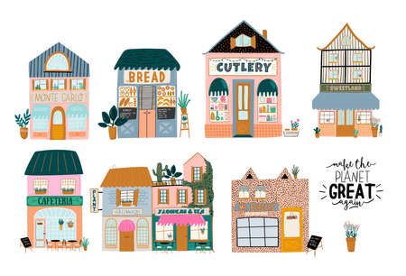 Collection of cute house, shop, store, cafe and restaurant isolated on white background. Flat vector illustration in trendy scandinavian style. European city Ilustracja
