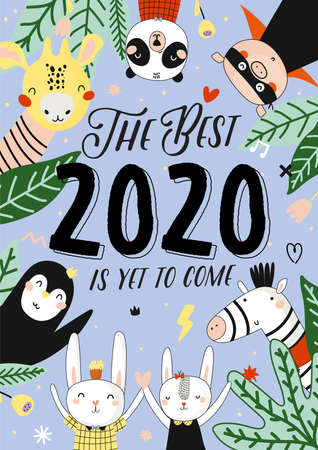 Cute 2020 Calendar. Yearly Planner Calendar with all Months. Good Organizer and Schedule. Cute holiday  illustration with funny animals. Good for kids Banco de Imagens - 127045137