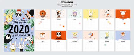 Calendario 2020 carino. Calendario Planner annuale con tutti i mesi. Buon organizzatore e pianificazione. Illustrazione di vacanza carina con animali divertenti. Buono per i bambini