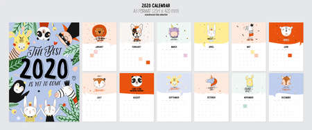 Cute 2020 Calendar. Yearly Planner Calendar with all Months. Good Organizer and Schedule. Cute holiday  illustration with funny animals. Good for kids 免版税图像 - 127045138