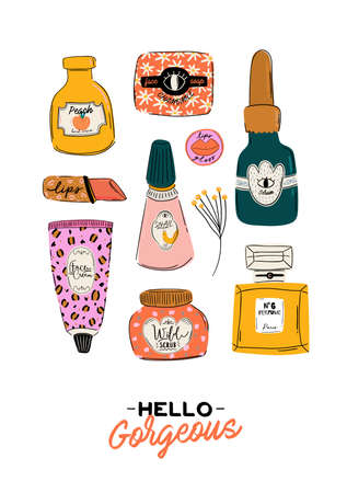Skincare routine set with natural organic cosmetics products in bottles, jars, tubes for skin in trendy doodle style. Cute motivational and inspirational girl power lettering. Vector illustration