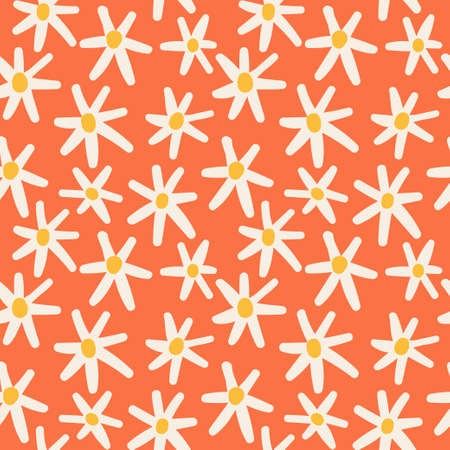 Cute floral pattern with hand drawn daisies. Good template for web, card, poster, sticker, banner, invitation, wedding. Vector illustration background Ilustração