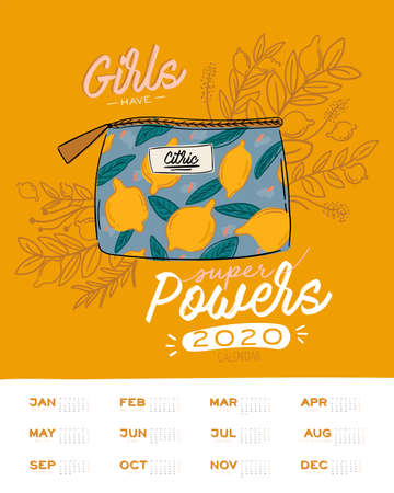 Cute Girl Power skincare wall calendar. 2020 Yearly Planner with all Months. Good Organizer and Schedule. Trendy female illustration - organic cosmetic and motivational quotes. Vector background 向量圖像