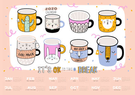 Cute wall calendar. 2020 Yearly Planner with all Months. Good Organizer and Schedule. Trendy illustration -  animal cartoon coffee cups and motivational quotes. Vector background