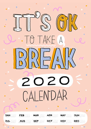 Cute wall calendar. 2020 Yearly Planner have all Months. Good Organizer and Schedule. Trendy funny lettering with motivational quotes. Vector background 일러스트