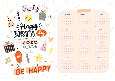 Happy Birthday wall calendar. 2020 Yearly Planner have all Months. Good Organizer and Schedule. Trendy party illustrations, lettering with holiday inspiration quotes. Vector background Ilustração