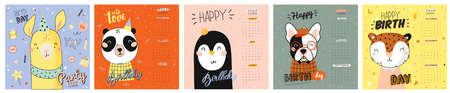 Cute 2020 Calendar. Yearly Planner Calendar have all Months. Good Organizer and Schedule. Cute happy birthday holiday  illustration with funny animals. Good for kids 向量圖像
