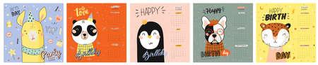 Netter Kalender 2020. Jahresplaner Kalender haben alle Monate. Guter Organisator und Zeitplan. Nette alles Gute zum Geburtstagfeiertagsillustration mit lustigen Tieren. Gut für Kinder