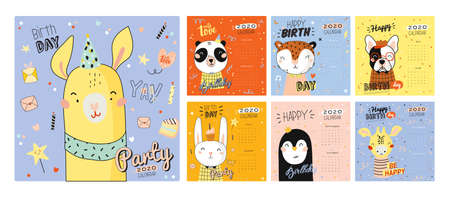 Cute 2020 Calendar. Yearly Planner Calendar have all Months. Good Organizer and Schedule. Cute happy birthday holiday  illustration with funny animals. Good for kids Ilustração