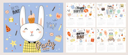 Cute 2020 Calendar. Yearly Planner Calendar have all Months. Good Organizer and Schedule. Cute happy birthday holiday  illustration with funny animals. Good for kids Illustration
