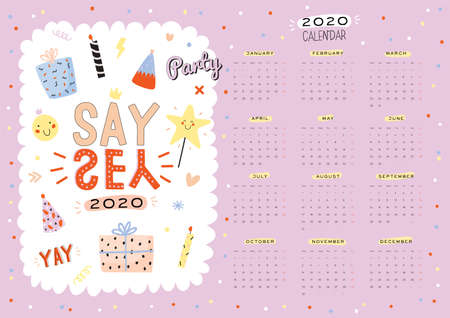 Happy Birthday wall calendar. 2020 Yearly Planner have all Months. Good Organizer and Schedule. Trendy party illustrations, lettering with holiday inspiration quotes. Vector background 일러스트