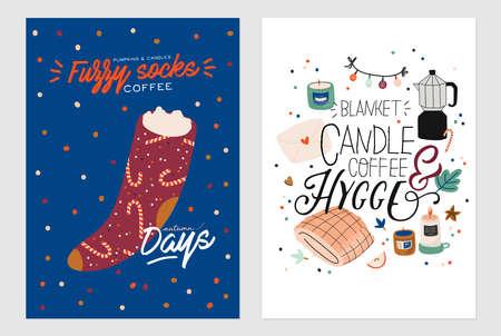 Nette Illustration mit gemütlichen Herbst- und Winterelementen. Isoliert auf weißem Hintergrund. Motivierende Typografie von Hygge-Zitaten für Feiertage. Skandinavischer dänischer Stil. Vektor