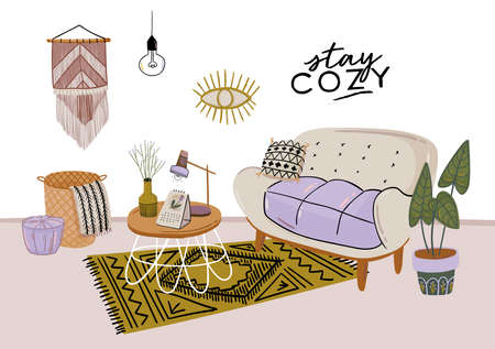 Stylish Scandic living room interior - sofa, armchair, coffee table, plants in pots, lamp, home decorations. Cozy Autumn season. Modern comfy apartment furnished in Hygge style. Vector illustration 일러스트