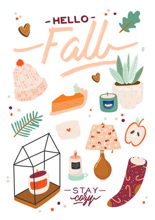 Cute illustration with autumn and winter cozy elements. Isolated on white background. Motivational typography of holidays hygge quotes. Scandinavian danish style. Vector Çizim
