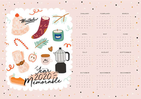Wall calendar. 2020 Yearly Planner with all Months. Good school Organizer and Schedule. Cute cozy home background. Motivational quote lettering. Flat vector illustration in trendy style Banco de Imagens - 130127690