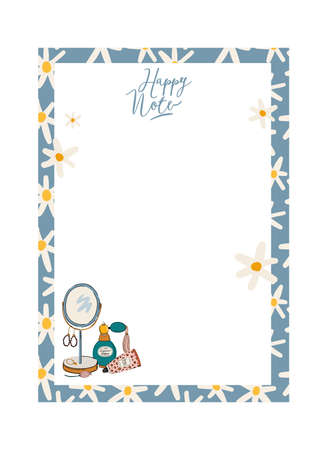Collection of weekly or daily planner, note paper, to do list, stickers templates decorated by cute beauty cosmetic illustrations and trendy lettering. Trendy scheduler or organizer. Flat vector
