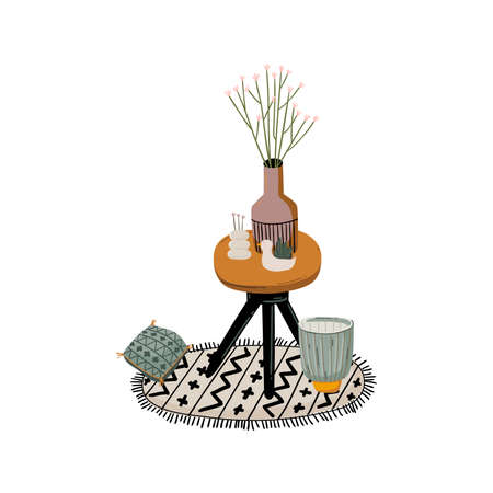 Stylish Scandic living room interior - sofa, armchair, coffee table, plants in pots, lamp, home decorations. Cozy Autumn. Modern comfy apartment furnished in Hygge style. Vector flat illustration.
