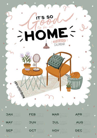 Wall calendar. 2020 Yearly Planner with all Months. Good school Organizer and Schedule. Cute home interior background. Motivational quote lettering. Flat vector illustration in trendy style Banco de Imagens - 130841640