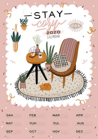 Wall calendar. 2020 Yearly Planner with all Months. Good school Organizer and Schedule. Cute home interior background. Motivational quote lettering. Flat vector illustration in trendy style Banco de Imagens - 130841651