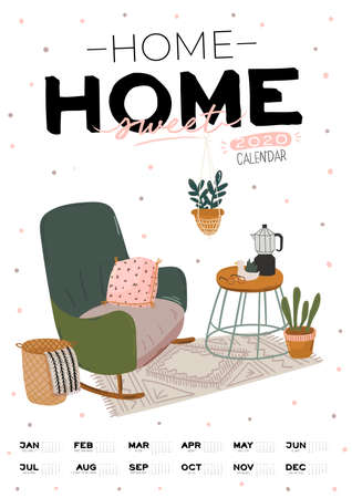 Wall calendar. 2020 Yearly Planner with all Months. Good school Organizer and Schedule. Cute home interior background. Motivational quote lettering. Flat vector illustration in trendy style Banco de Imagens - 130841667