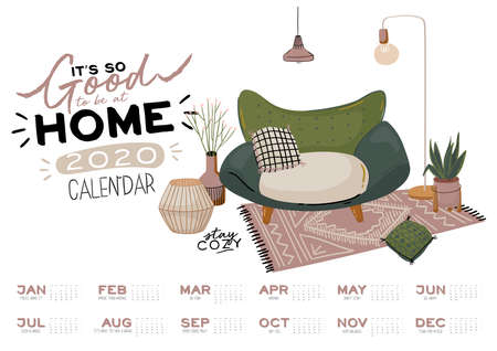 Wall calendar. 2020 Yearly Planner with all Months. Good school Organizer and Schedule. Cute home interior background. Motivational quote lettering. Flat vector illustration in trendy style Banco de Imagens - 130841668