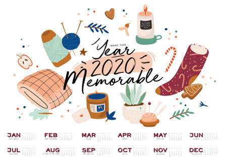 Wall calendar. 2020 Yearly Planner with all Months. Good school Organizer and Schedule. Cute cozy home background. Motivational quote lettering. Flat vector illustration in trendy style 일러스트