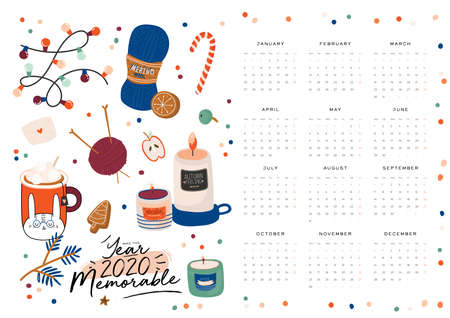 Wall calendar. 2020 Yearly Planner with all Months. Good school Organizer and Schedule. Cute cozy home background. Motivational quote lettering. Flat vector illustration in trendy style Banco de Imagens - 130447569