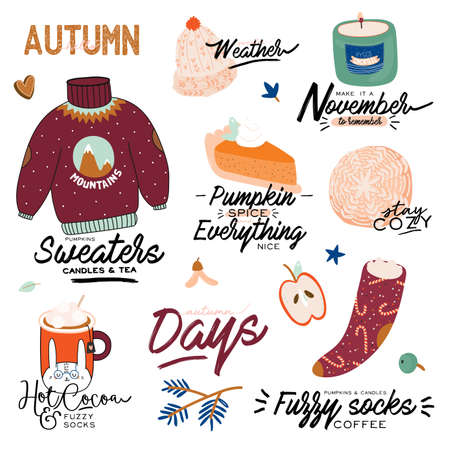 Cute illustration with autumn and winter cozy elements. Isolated on white background. Motivational typography of holidays hygge quotes. Scandinavian danish style. Vector Ilustração