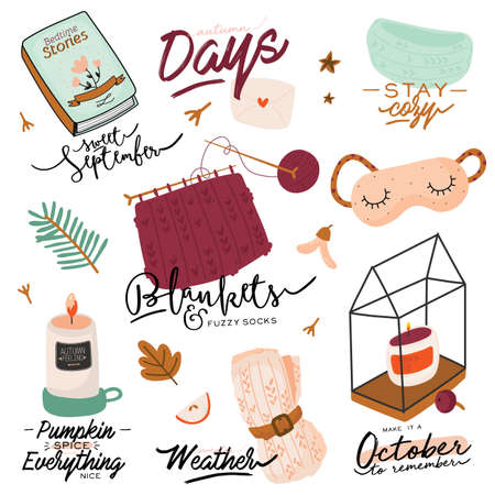 Cute illustration with autumn and winter cozy elements. Isolated on white background. Motivational typography of holidays hygge quotes. Scandinavian danish style. Vector Illusztráció