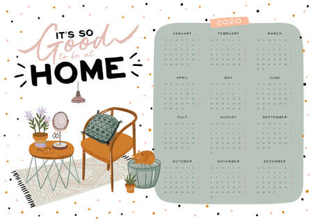 Wall calendar. 2020 Yearly Planner with all Months. Good school Organizer and Schedule. Cute home interior background. Motivational quote lettering. Flat vector illustration in trendy style