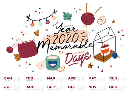 Wall calendar. 2020 Yearly Planner with all Months. Good school Organizer and Schedule. Cute cozy home background. Motivational quote lettering. Flat vector illustration in trendy style Ilustração