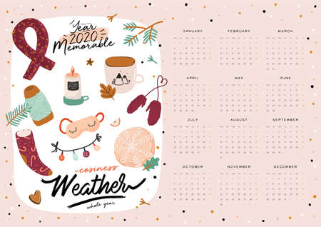 Wall calendar. 2020 Yearly Planner with all Months. Good school Organizer and Schedule. Cute cozy home background. Motivational quote lettering. Flat vector illustration in trendy style Banco de Imagens - 131297800