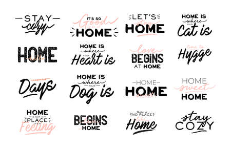 Cute typography quotes with home cozy phrases. Isolated on white background. Motivational hygge lettering. Scandinavian danish style. Vector. Home sweet.
