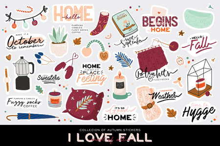 Cute illustration with autumn and winter cozy elements. Isolated on white background. Motivational typography of holidays hygge quotes. Scandinavian danish style. Vector Иллюстрация