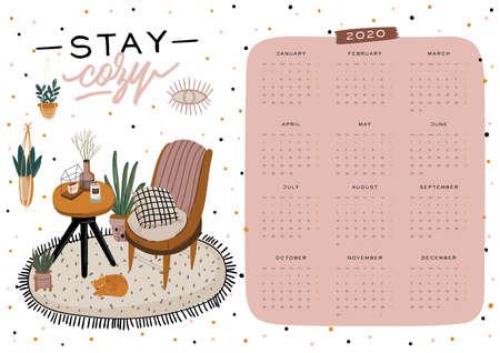 Wandkalender. Jahresplaner 2020 mit allen Monaten. Guter Schulorganisator und Zeitplan. Netter Hauptinnenraumhintergrund. Motivierende Zitatbeschriftung. Flache Vektorillustration im trendigen Stil