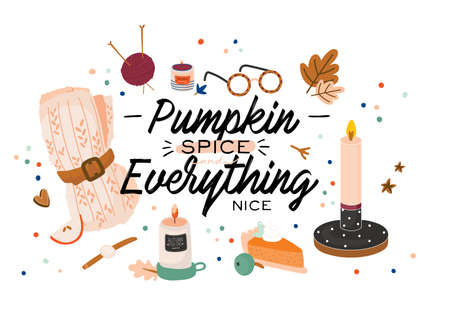 Cute illustration with autumn and winter cozy elements. Isolated on white background. Motivational typography of holidays hygge quotes. Scandinavian danish style. Vector Illustration