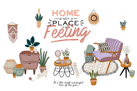 Scandinavian living room interior - sofa, armchair, coffee table, plants in pots, lamp, home decorations. Cozy Autumn season. Modern comfy apartment furnished in Hygge style. Vector illustration