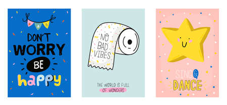 Cute scandinavian poster set including trendy quotes and cool decorative hand drawn elements. Cartoon doodle style illustration for patches, stickers, T-shirt, nursery, kids characters design. Vector.  イラスト・ベクター素材