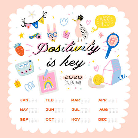 Happy Birthday wall calendar. 2020 Yearly Planner have all Months. Good Organizer and Schedule. Cute kids doodle illustration, Lettering with motivational and inspiration quotes. Vector background Banque d'images - 132413557