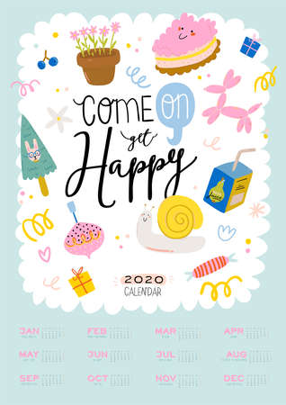 Happy Birthday wall calendar. 2020 Yearly Planner have all Months. Good Organizer and Schedule. Cute kids doodle illustration, Lettering with motivational and inspiration quotes. Vector background 일러스트