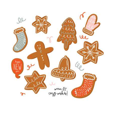Set of various tasty gingerbread cookies in cartoon style. Hand drawn cute holiday winter illustration. Christmas sweet man, bell, socks, star, mitten, snowflake. Vector isolated.