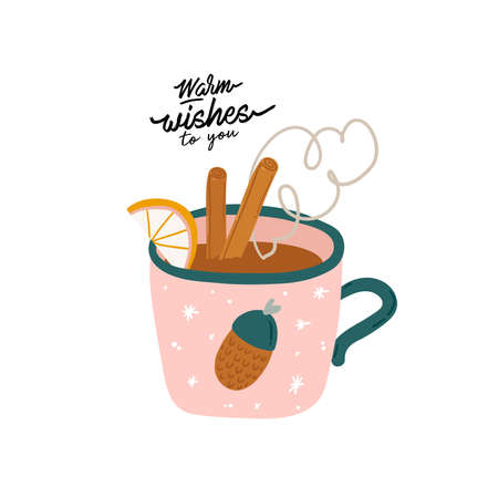 Tasty holiday hot drink in cartoon style. Hand drawn cute Merry Christmas illustration with new year typography wish. Vector isolated. Cozy winter mood. Hygge cocoa, tea, coffee, cuppuccino. Vektoros illusztráció