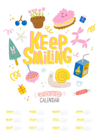Happy Birthday wall calendar. 2020 Yearly Planner have all Months.