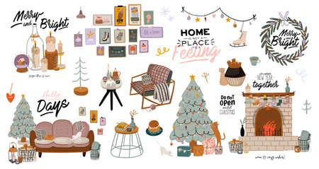 Interior escandinavo con decoraciones para el hogar de diciembre: corona, gato, árbol, regalo, velas, mesa. Acogedora temporada de vacaciones de invierno. Linda ilustración y tipografía navideña en estilo Hygge. Vector. Aislado.
